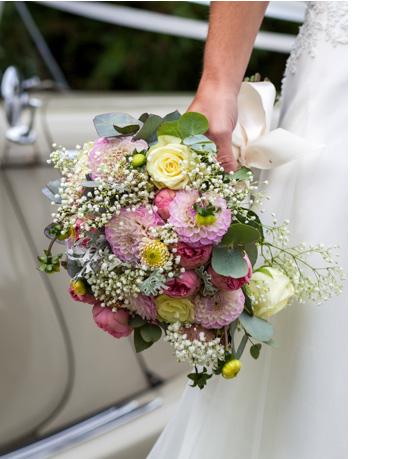 Investment flowers in brides hand