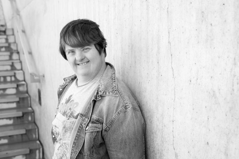 Rachel Heller in Margate - black and white