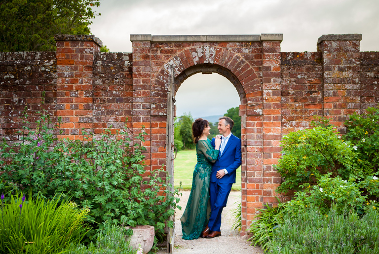 Bride and groom at cadhay house