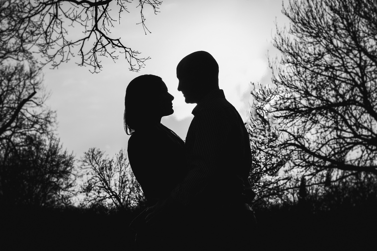 black and white silhouette of a couple